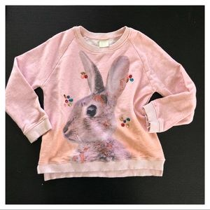 Zara Girls Pink Jeweled Bunny Crewneck